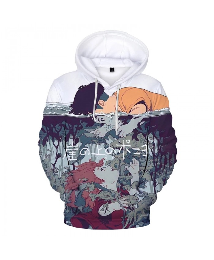 Ponyo on the Cliff 3D Printed Hoodie Sweatshirts Men Women Fashion Casual Cartoon Pullover Anime Harajuku Streetwear Hoodies