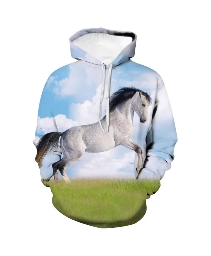 2021 Fall/Winter Men's Hoodie 3d Printing Animal White Horse Sweatshirt Pullover Fashion Street Hooded Long Sleeve Coat