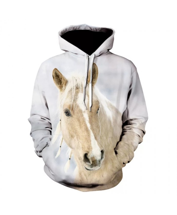Fashion high quality casual long sleeve horse print street wear thin hooded sweatshirt 3D brand printed floral hoodie