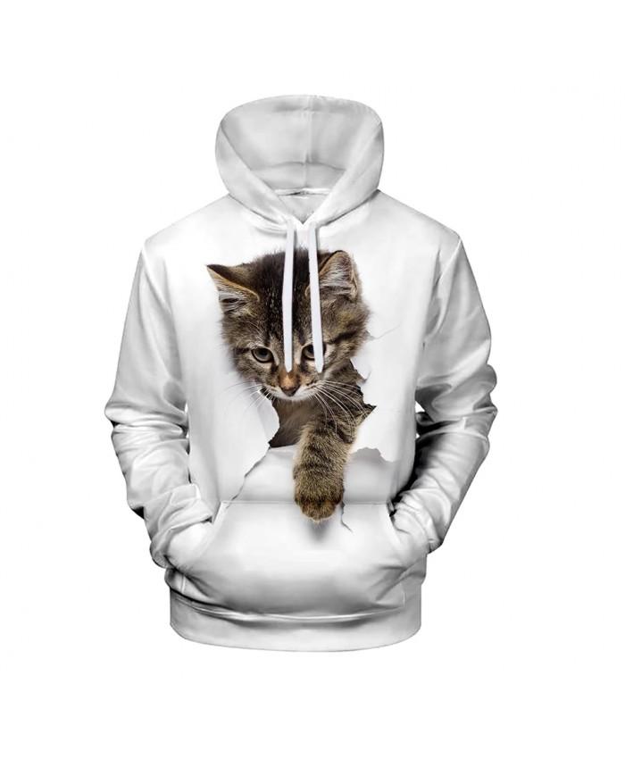 New listing Cute 3D Cat Hoodies Men Women Sweatshirt Harajuku Hooded Autumn boys girls animal white 3D Hoodie Pullovers