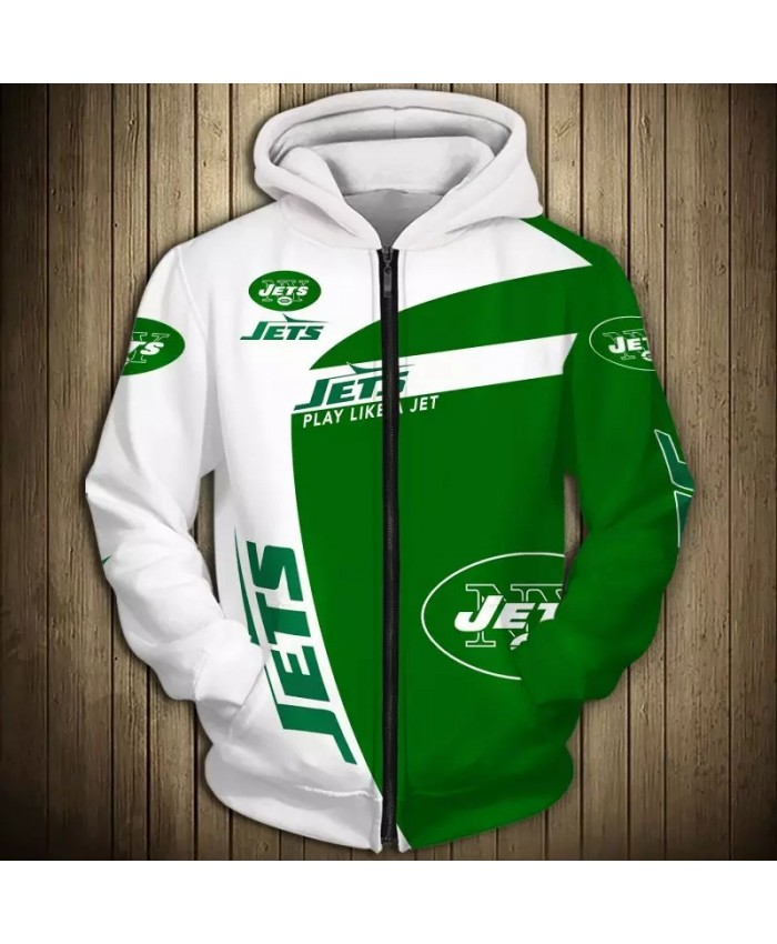 New York Fashionable American Football Jets Zipper hoodies White and green stitching letter print casual sweatshirts
