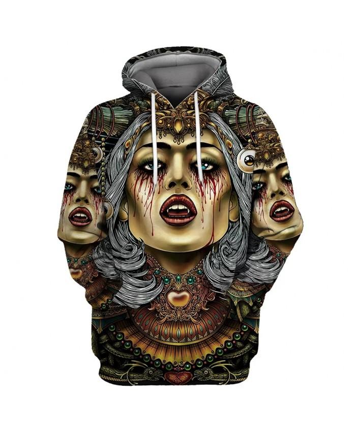 Grey bandana color headdress graffiti beauty print fashion 3D hoodies