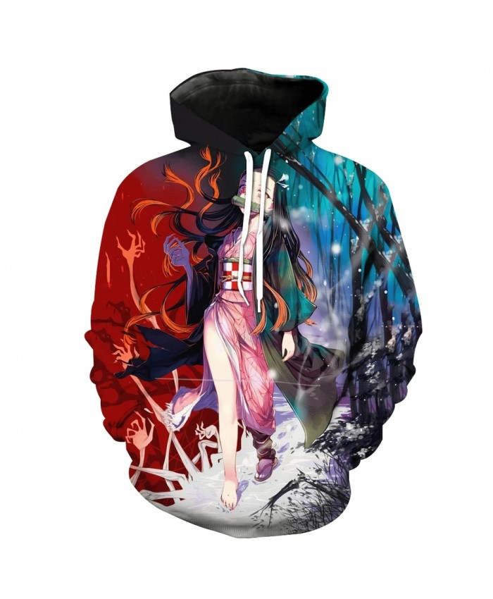 Men's Fashion 3D Hoodie Devil forest anime beauty print sweatshirts