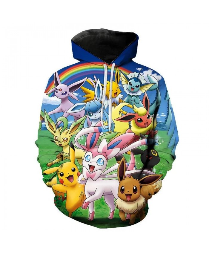 Fall New Style Hoodies Men And Women Children Pokemon Sweatshirt 3d Printing Cartoon Anime Pullover Fashion Coat