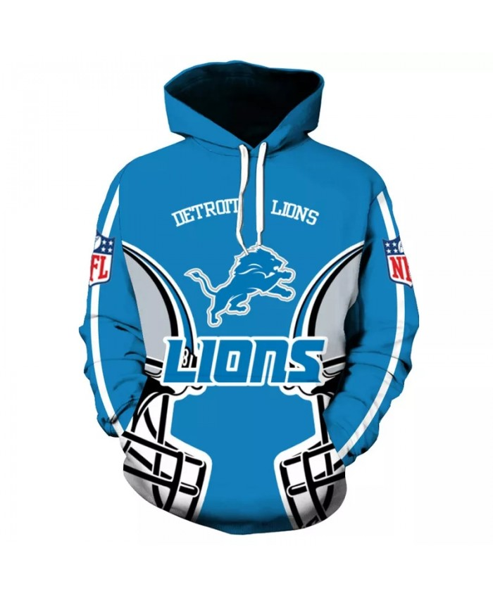 Detroit fashion cool Football 3d hoodies sportswear Gray helmet blue graffiti animal print Lions sweatshirt