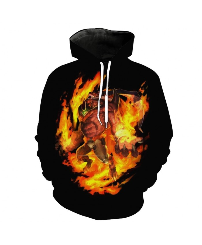 Burning flame growl dog head giant print fashion men's 3D hooded sweatshirt
