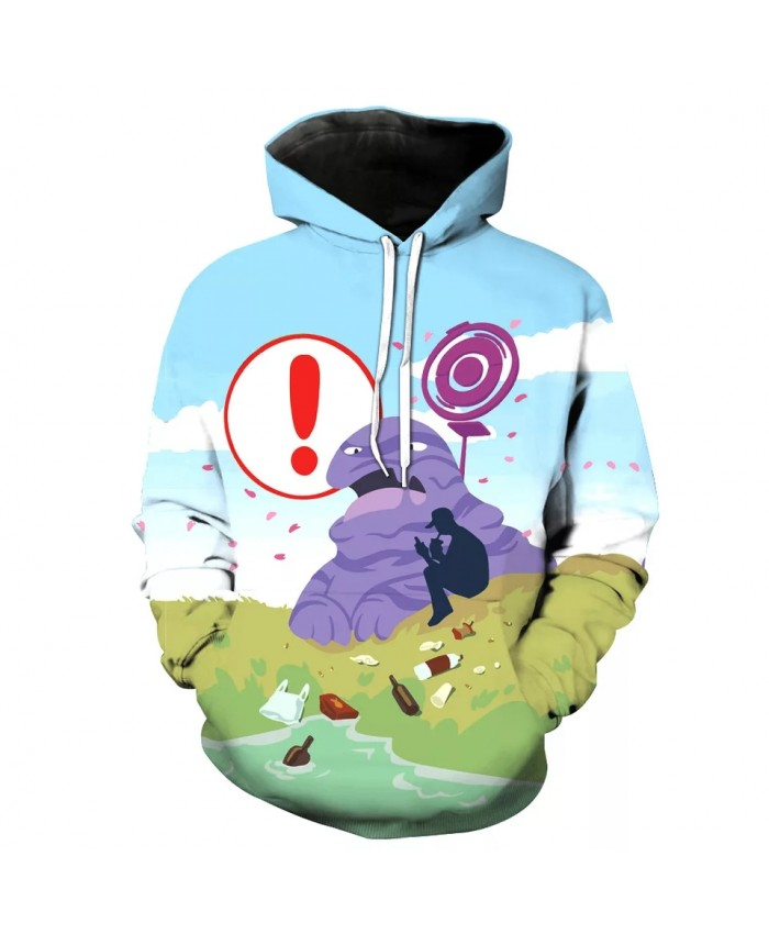 Blue sky cartoon purple monster print fashion 3D hooded sweatshirt