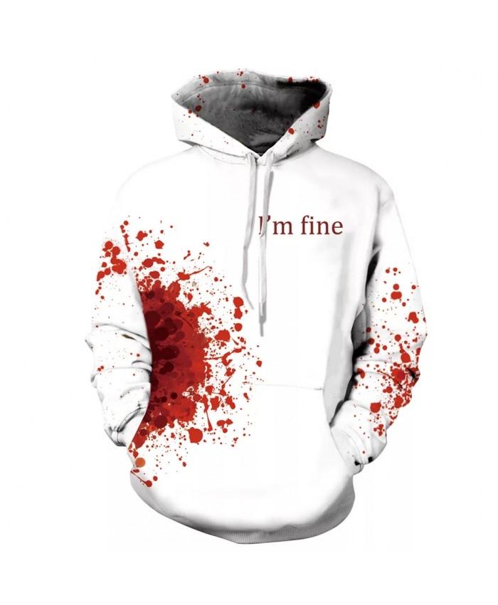 7XL  Mens 3d Print Halloween I' m Fine Hoodie Men Women Blood Skull Hooded Sweatshirt Autumn Thin Pullover Outwear