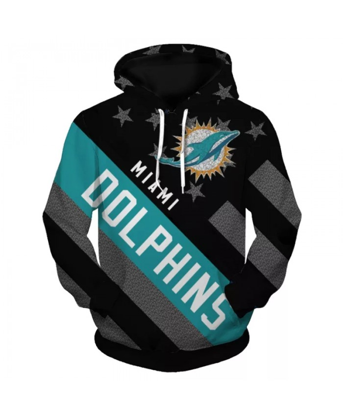 Miami fashion cool Football 3d hoodies sportswear Black stars and stripes cartoon animal print Dolphins sweatshirt 1
