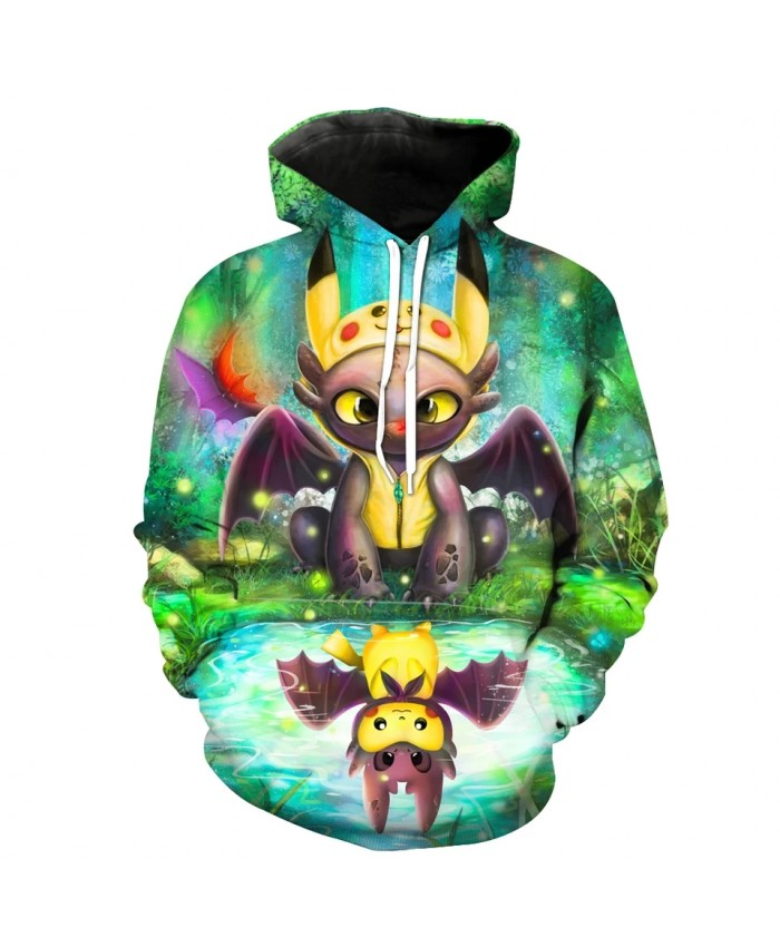 Men's Fashion 3D Hoodie Green forest lakeside Cartoon Elves print sweatshirts