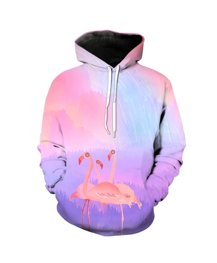 Pink World Cartoon Flamingo Print Fun 3D Sweatshirt