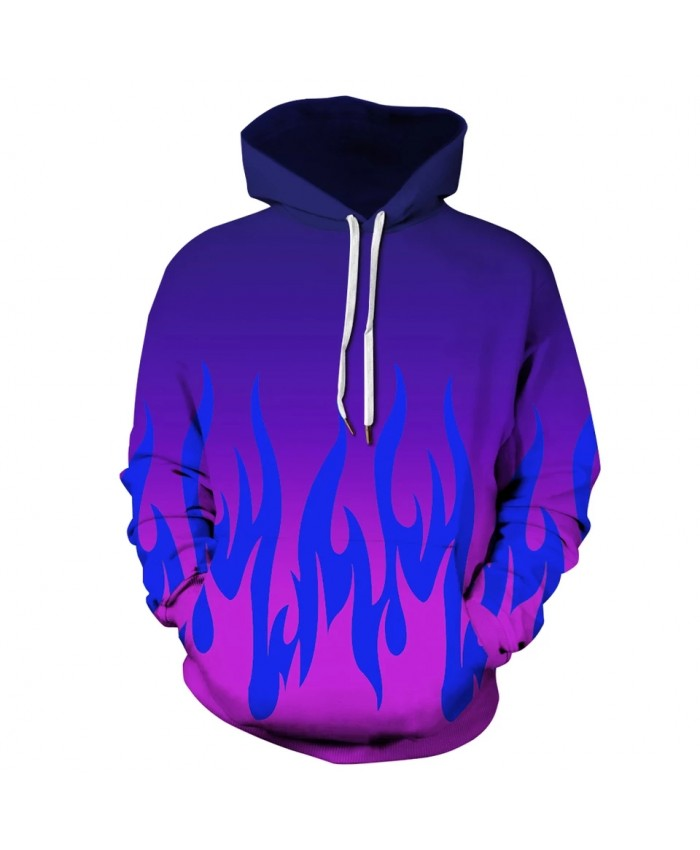 New 3D Flame Fire Print Fashion Brand Men's Hoodies Sweatshirt Men Funny Plus Size Hoodie For Male Unisex Winter Pullovers