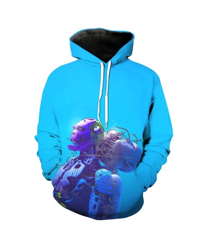 Robot Diver Print Fashion Men's Blue Hooded Sweatshirt