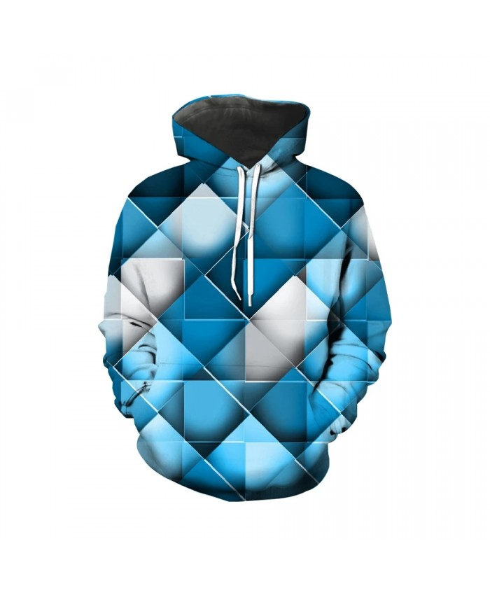 Trendy men's geometric block 3D printed sports Hoodie crew neck casual long sleeve funny men's large street wear
