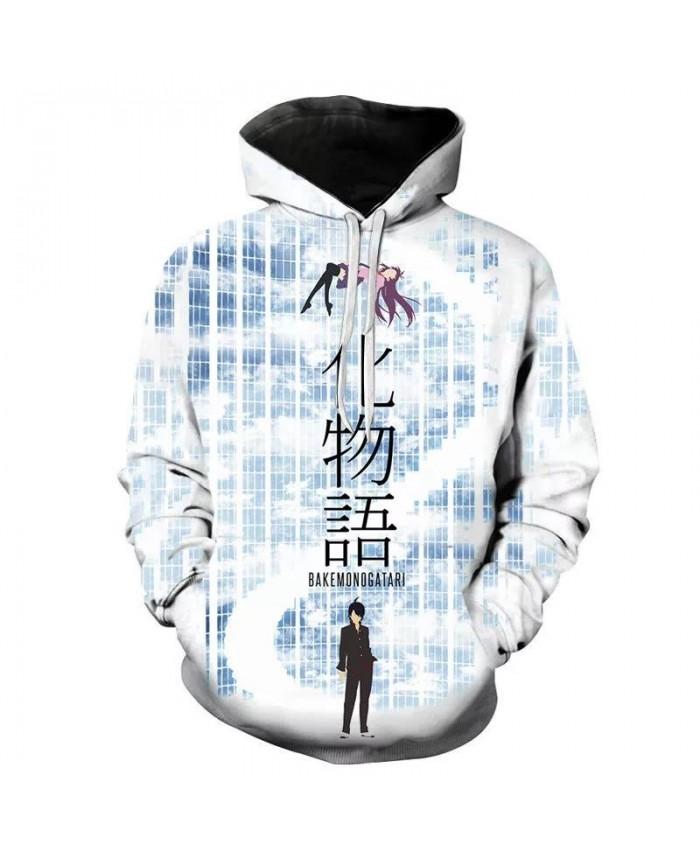 Men Women Children Fashion Hoodies Monogatari 3D Printed Sweatshirts Pullover Long Sleeve Boy Girl Kids Streetwear Casual Coat