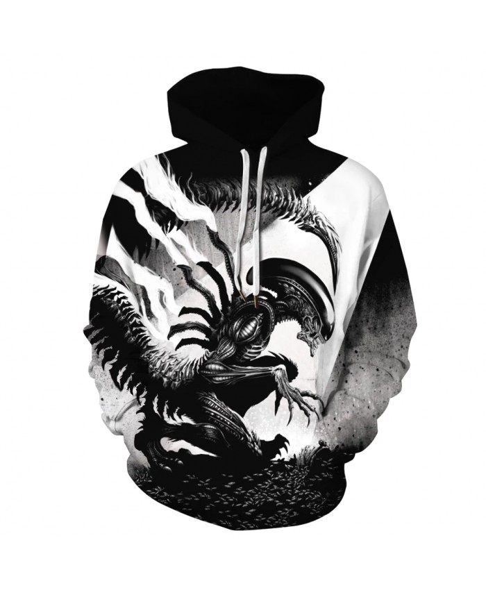 Alien 3D Print Unisex Sweatshirts Long Sleeve Hoodies Pullover Tops Hooded Pullover Clothing