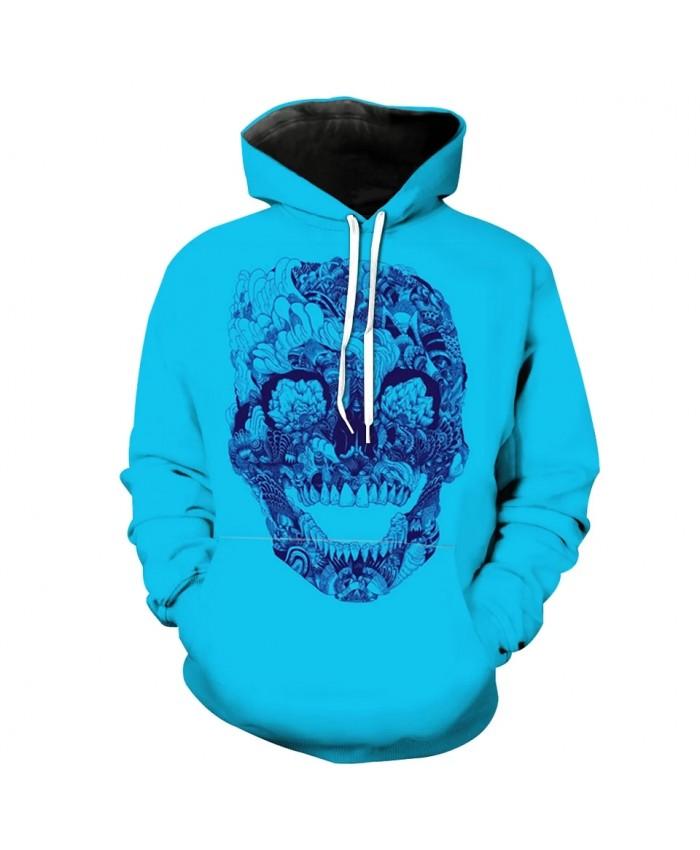 Men's Fashion 3D Hoodie Smile flower skull print blue sweatshirt