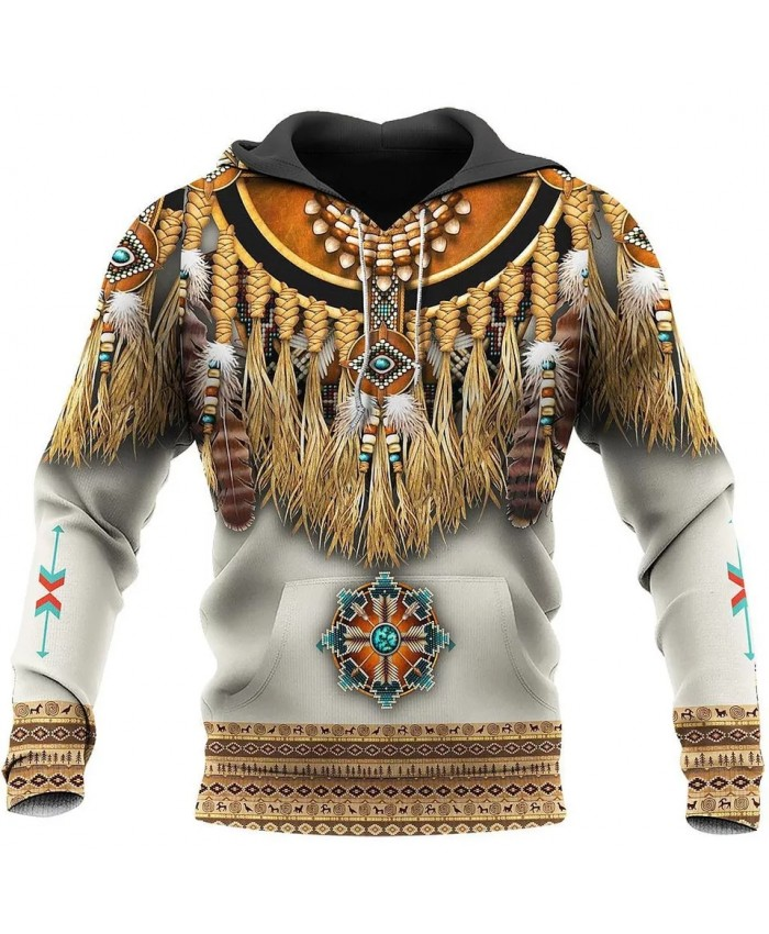 New 3D printing native feather hoodie fun fashion street casual sweatshirt unisex casual sports hoodie