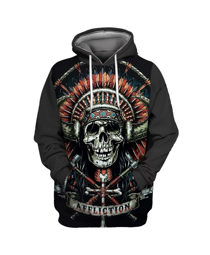 Red Feather Bandana Cross Decorated Metal Skull Print Cool 3D Hooded Sweatshirts