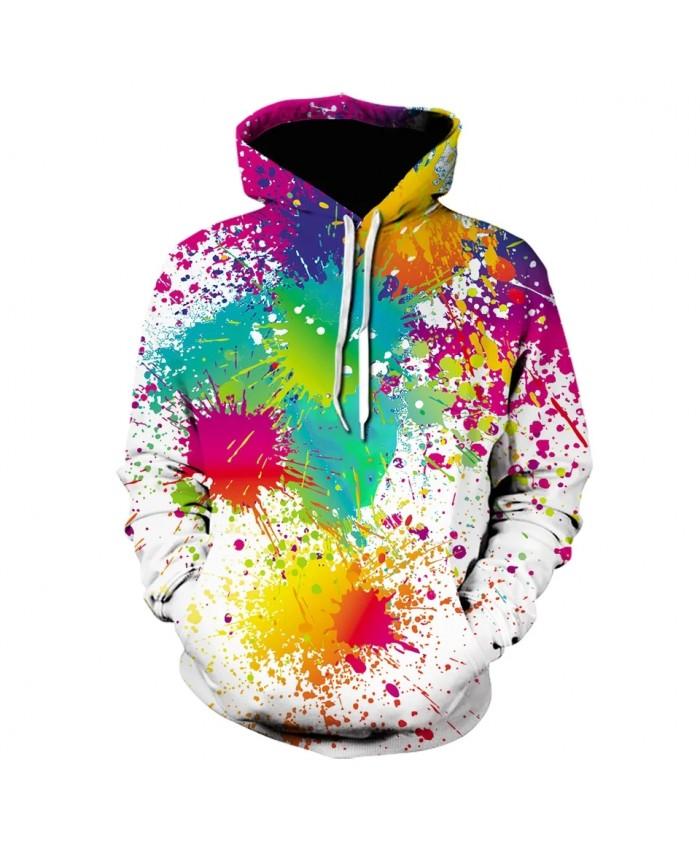 2021 Fall/winter New Men's And Women's Hoodie Splatter 3d Printing Tie-dye Hoodie Watercolor Cool Sweatshirt White Pullover Coat