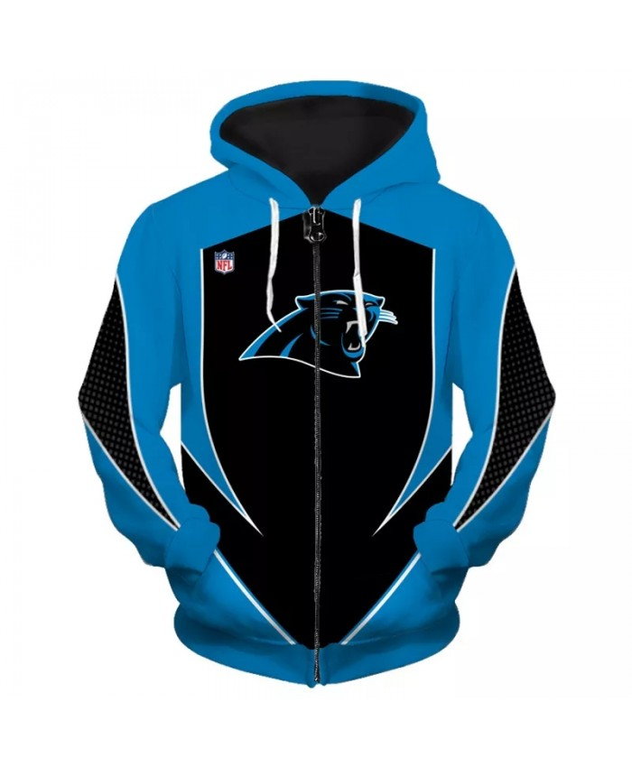 Carolina Fashionable American Football Panthers Zipper hoodies Blue black stitching geometric line print sweatshirts