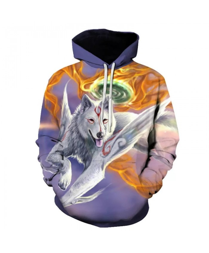 Men's and women's casual sports shirts hoodies wolf 3D sketch hat combined with all the trends autumn and winter fashion sw