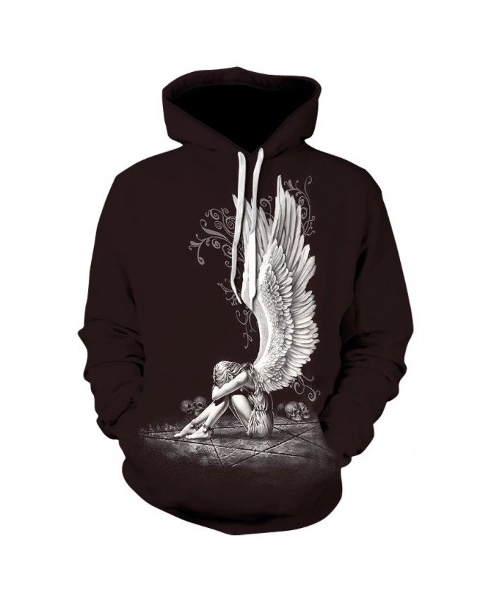 Stylish new skull line angel girl hoodie sweatshirt 2021 men's and women's casual long-sleeved hoodie jackets