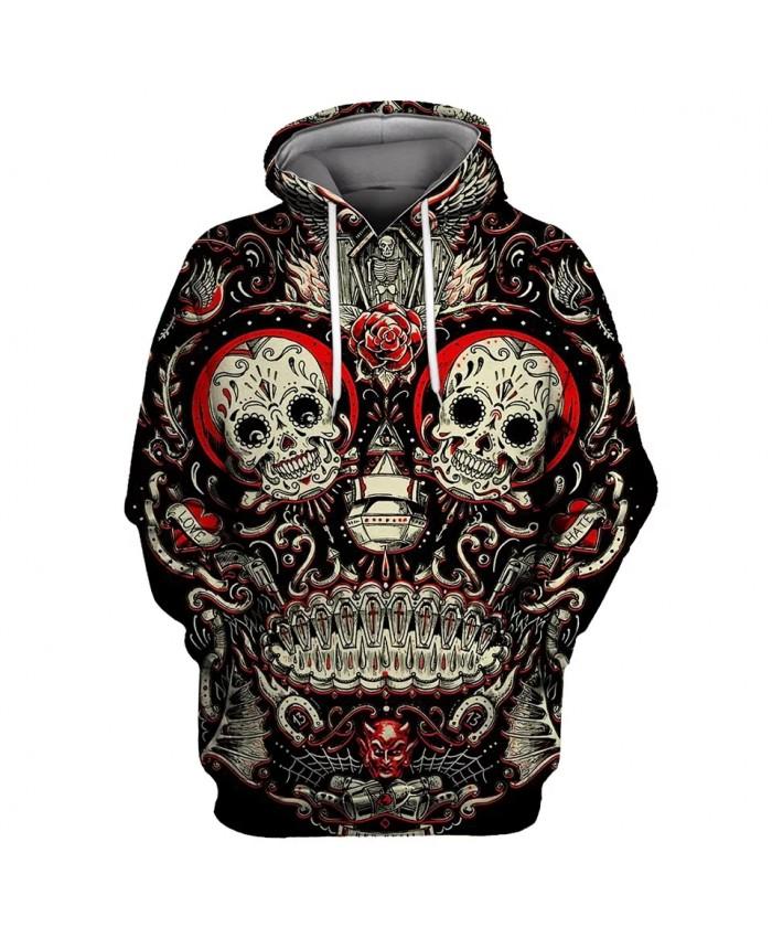 Red devil graffiti line flower skull print fashion 3D hooded sweatshirt