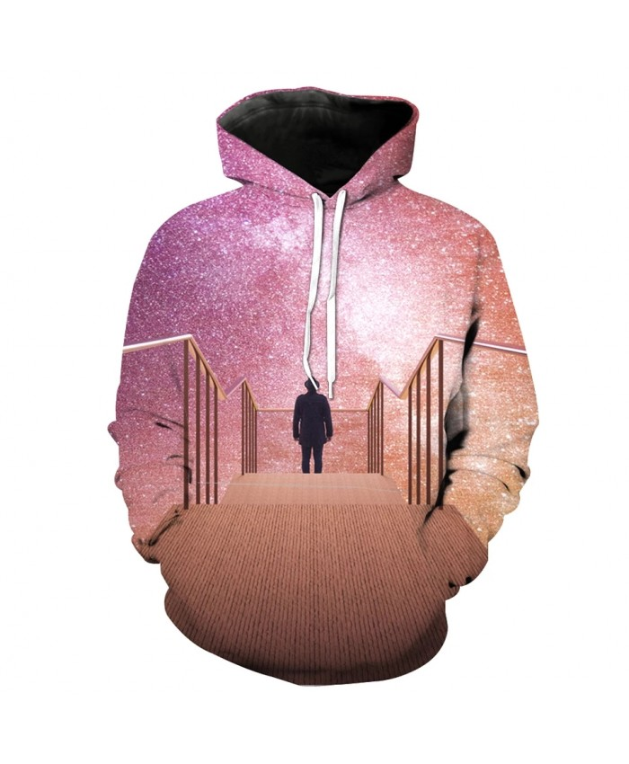 Golden World Cool Starry 3D Men's Casual Hooded Sweatshirt