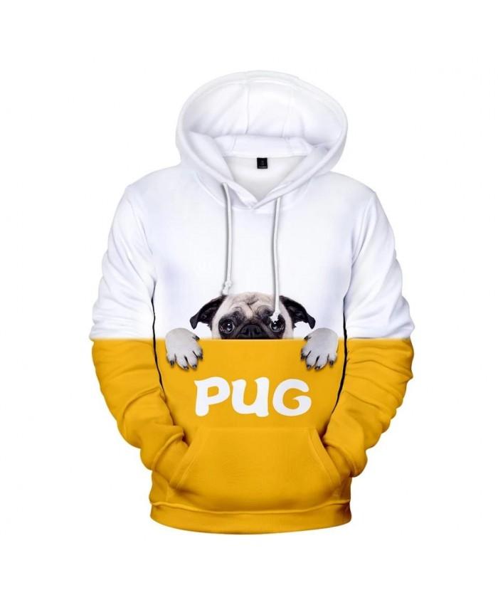 Cute Pug 3D Hoodies Men Women Sweatshirts Harajuku Kids Hoodie pullovers Print 3D Pug Hooded Autumn boys girls yellow white Tops