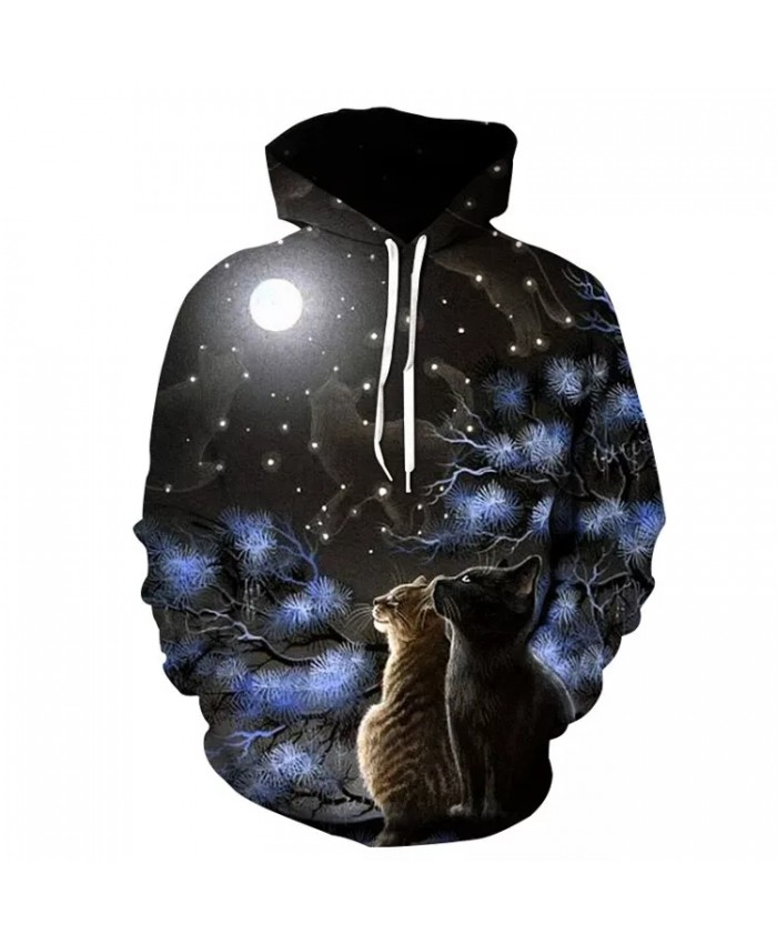 2021 New Men's Fashion Hot Style Hoodie Animal Cat Couple Print Pullover 3D Printing Loose Casual