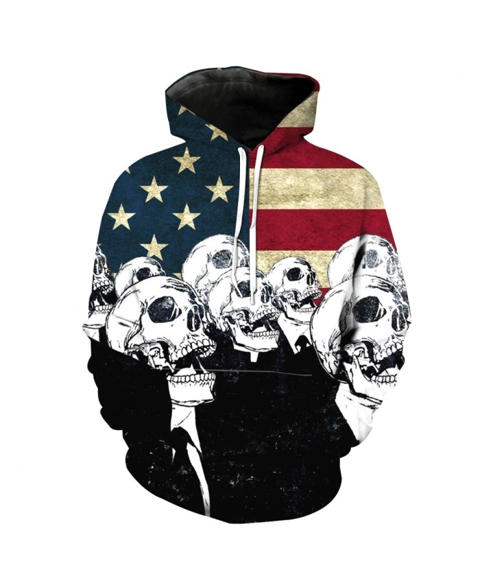 Men's Fashion 3D Hoodie Vintage American Flag Skull Gentleman Print sweatshirt