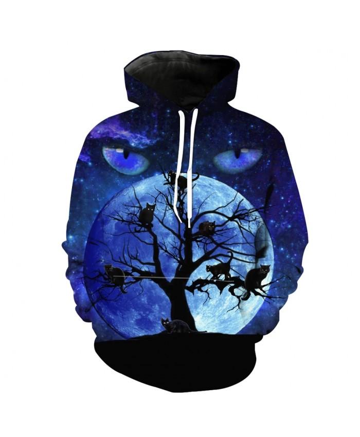 Men's Fashion 3D Hoodie Blue starry eyes dry tree cat print sweatshirts