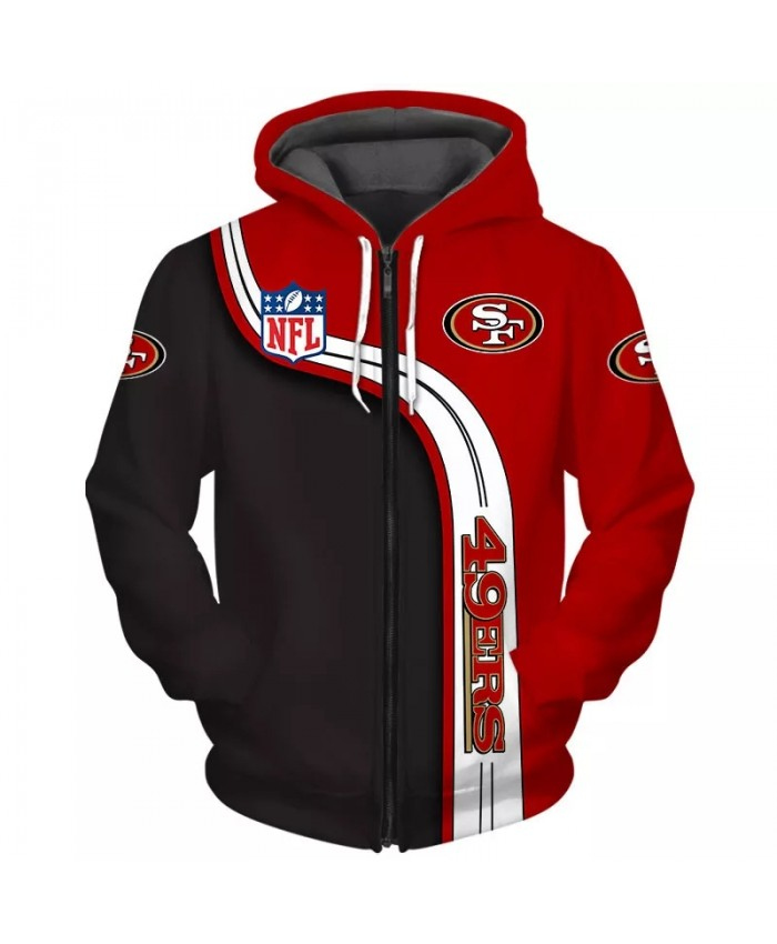 San Francisco Fashionable American Football 49ers Zipper hoodies  Red white black stitching letters printed casual sweatshirts 2