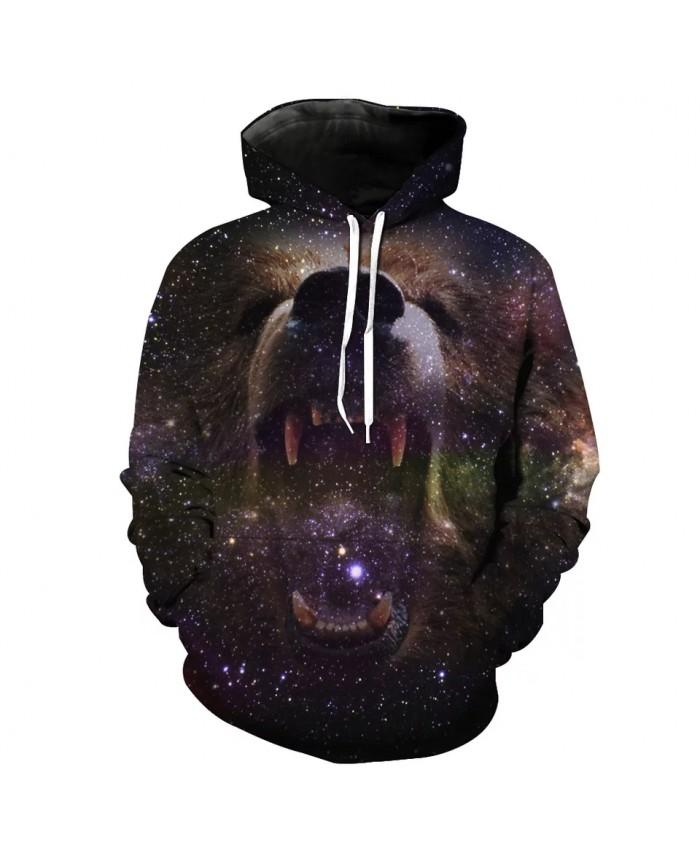 Purple Galaxy Roaring Bear Print Cool 3D Hooded Sweatshirt