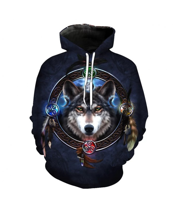 Black Casual Hooded Sweatshirt Blue Mirror Graffiti Wolf Print Fun Hoodies
