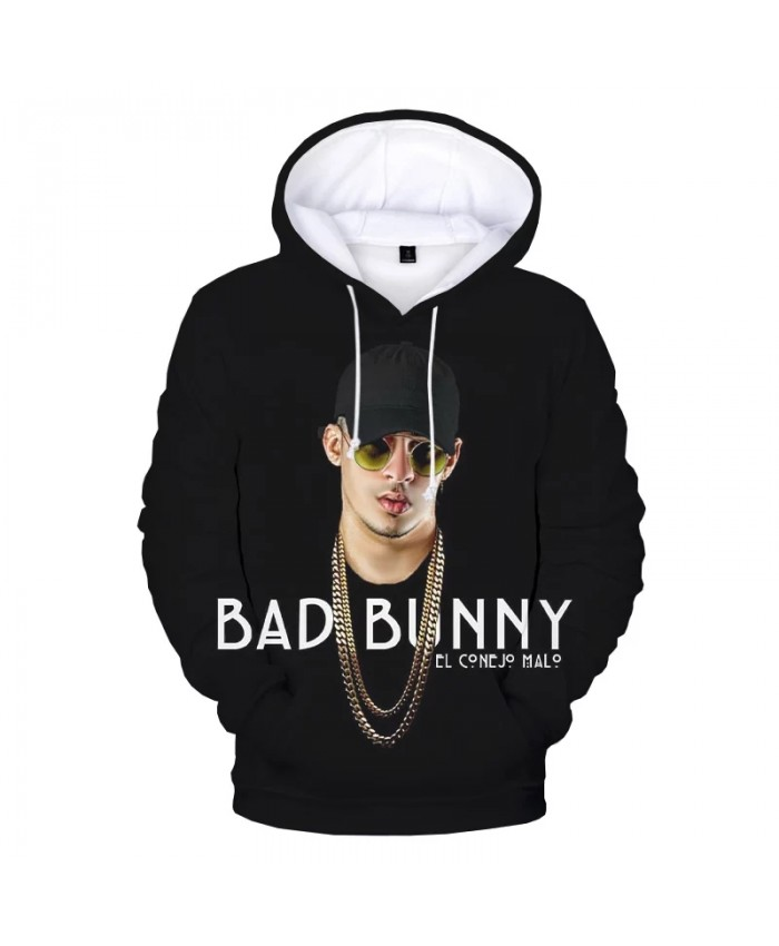 2021 New Arrival Bad Bunny 3D Hooded Sweatshirts Men Women Fashion Casual Hip Hop Hoodies Bad Bunny Print Pullover