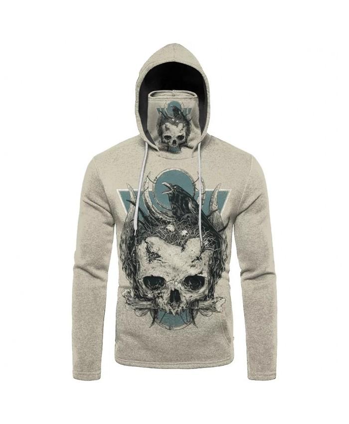 Black crow white skull print beige mask hooded sweatshirts men's casual sportswear