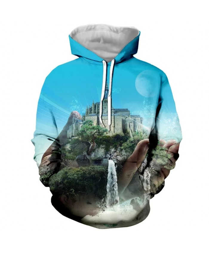 3D Print Funny Castle in hand Mens Hoodies Sweatshirt With Hat Pocket Men Autumn Spring Tracksuit Pullover