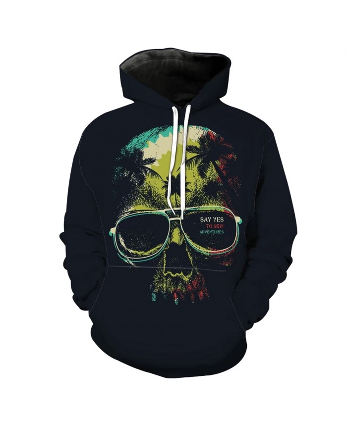 Color graffiti skull coconut tree print men's casual 3D hoodie