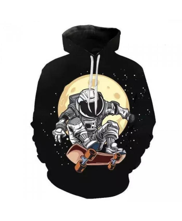 2021 3D Printed Hoodies Spring Autumn Starry Sky Astronaut Long Sleeve Pullover Hoodie Trendy Men's Casual Harajuku Sweatshirt