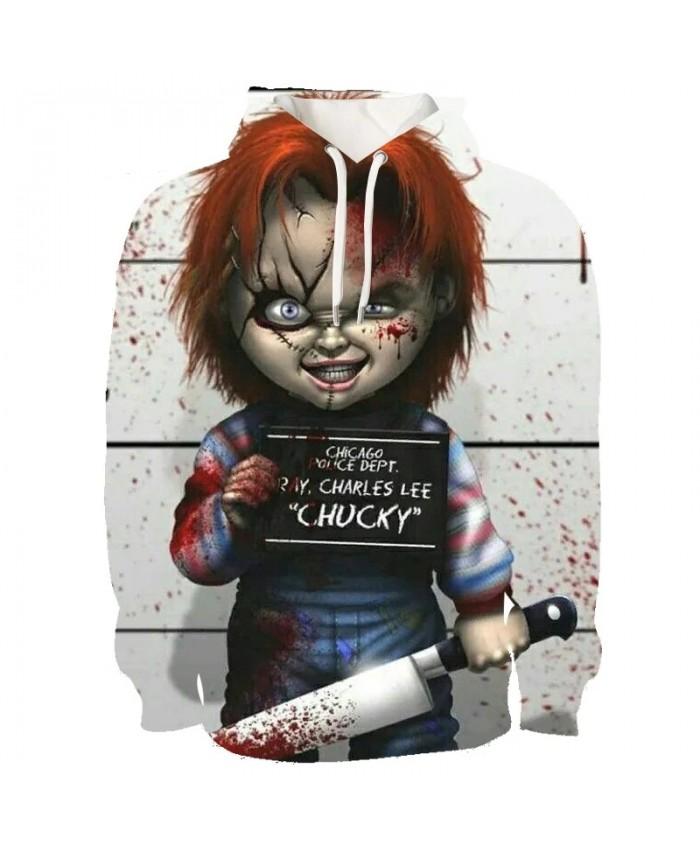 Hot Horror Movie Chucky Hoodies Mens Boys 3D Hooded Hoodies Autumn Winter Long Sleeve Hoody Sweatshirt Fashion Hip Hop Hoodies