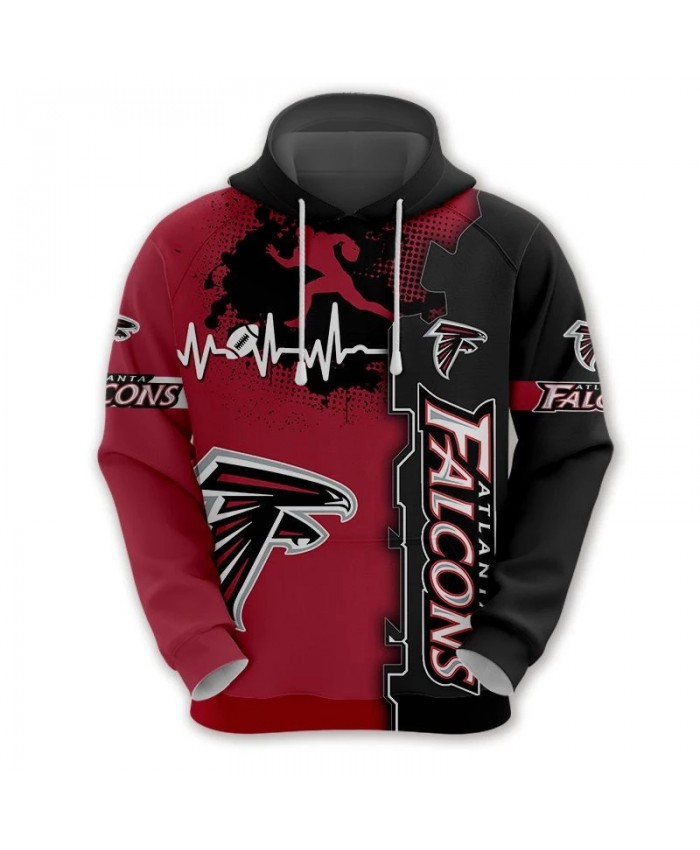 Atlanta fashion cool Football 3d hoodies sportswear Red black stripes graffiti geometric hound print Falcons sweatshirt