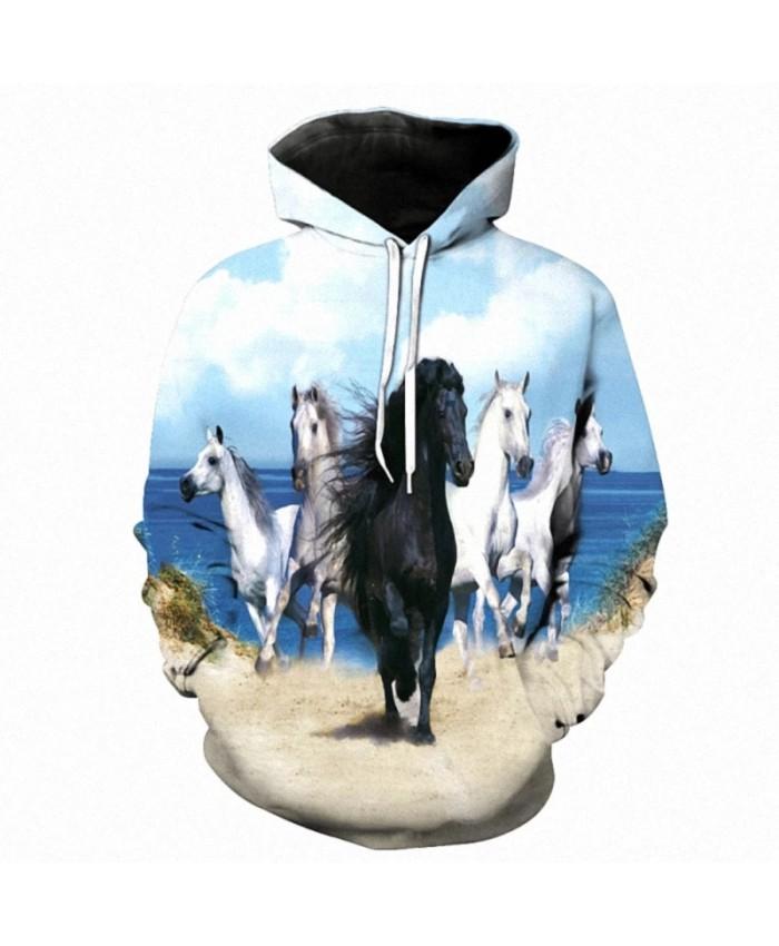 New Arrival 3D Sweatshirt Hoodies Men Horse Colorful 3D Print Long Sleeve Fashion Casual Hoodie Hip Hop Streetwear Pullover
