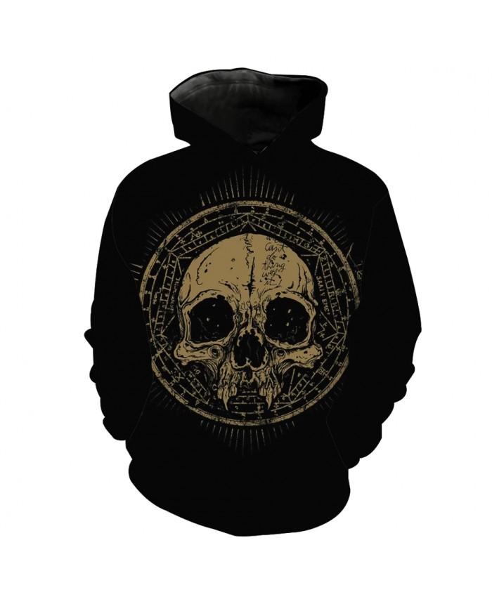 Men's Fashion 3D Hoodie Khaki skull letter print sweatshirts