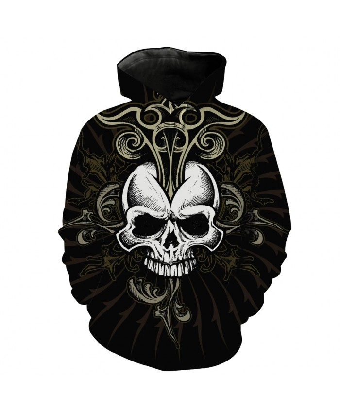 Men's Fashion 3D Hoodie Metal floral white skull print sweatshirts