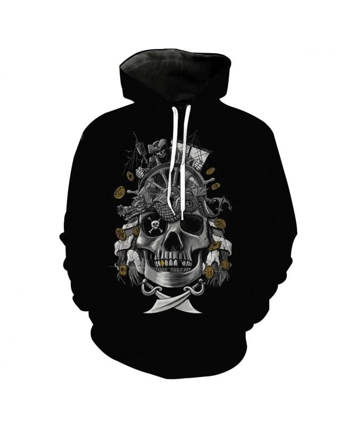 Mechanical skull yellow flower print fashion 3D hooded sweatshirt