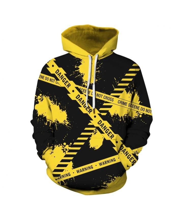 New Hoodies Warning Line 3D Print Hooded Sweatshirt Men Women Casual Fashion Pullover Hoodie Tops