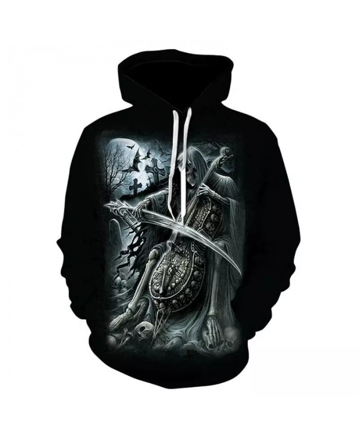 3d Skull Grim Reaper Hoodie Sweatshirt Fall/winter 2021 New Men's And Women's Pullover Punk Style Hip Hop Rock Sweatshirt
