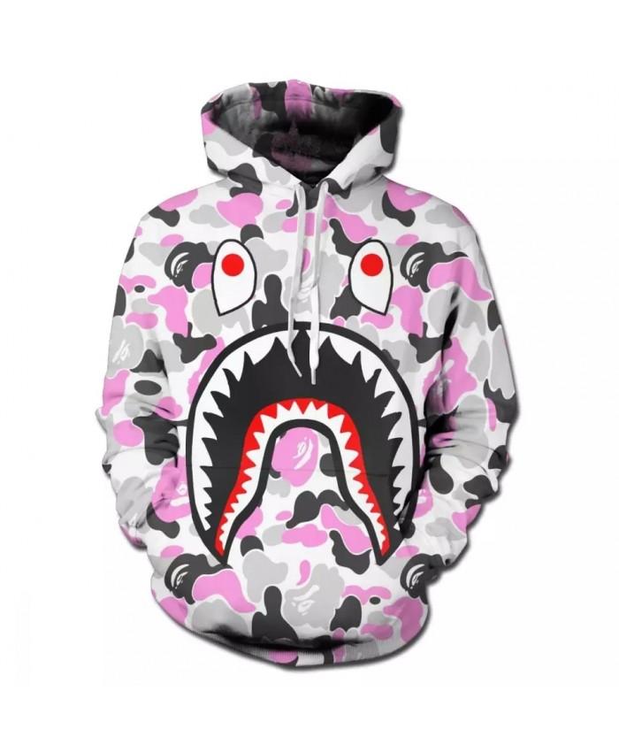 Bape Shark 3D Print Hoodies Men Round Neck Sweatshirt Pullover Funny Comic Streetwear Cartoon Hoody